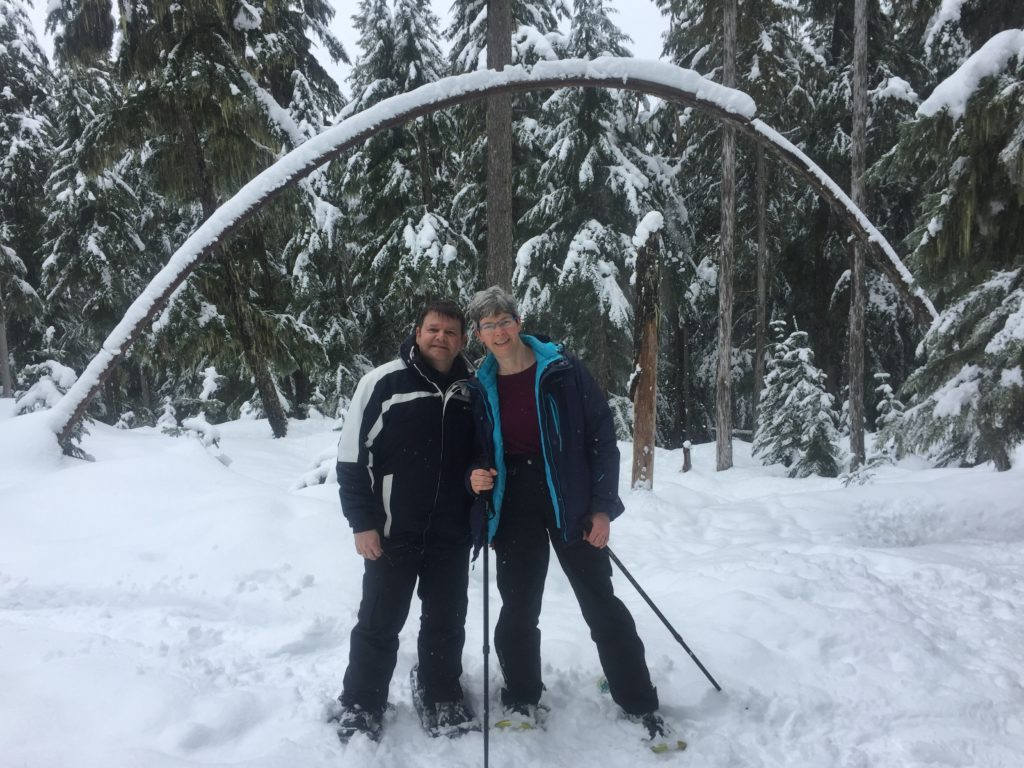 Dr. Mary Ellen Ulmer snowshoeing with spouse