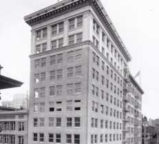 A black and white photo of The Portland Clinic's first office in downtown Portland, Oregon, in 1921.