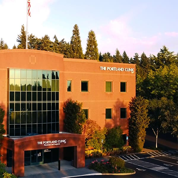 A photo of The Portland Clinic-South location at sunset.