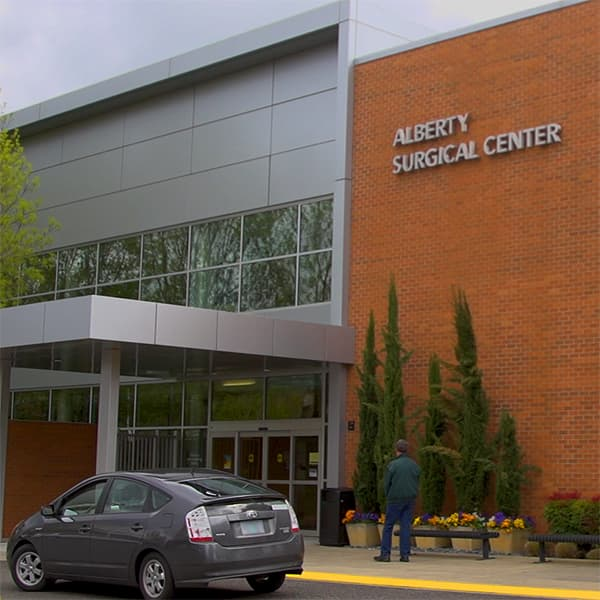 A photo of the front entrance of the Alberty Surgical Center.