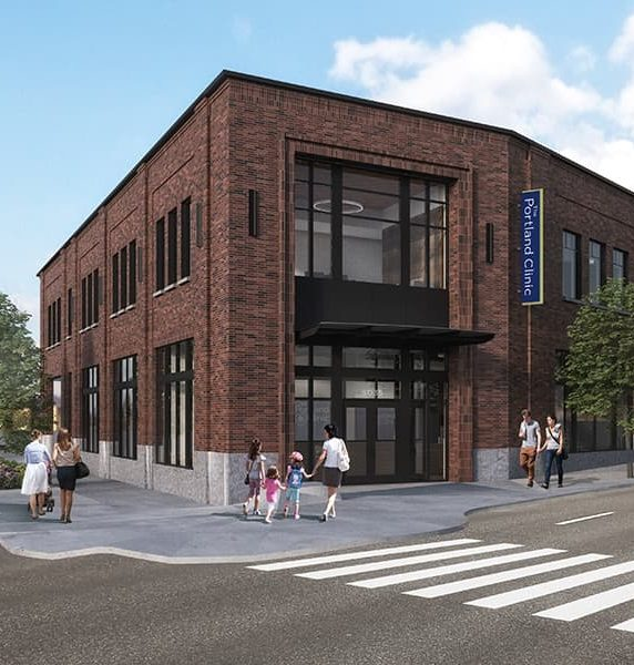 A rendering of the front entrance of The Portland Clinic's new Northeast branch.
