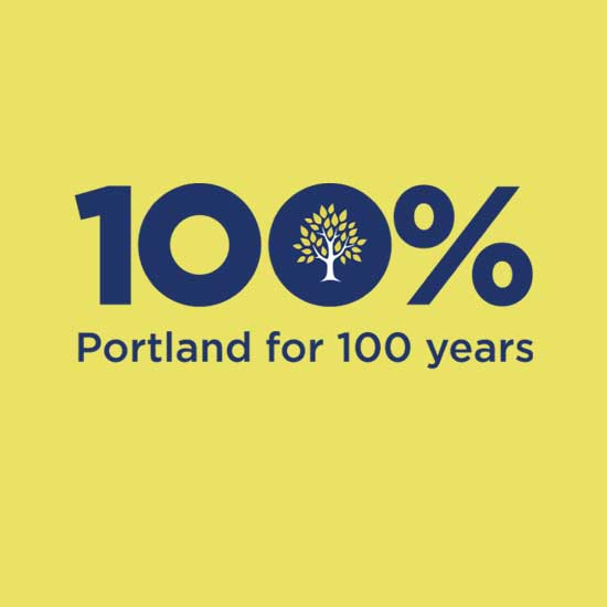 The Portland Clinic Centennial Logo. 100 Percent Portland for 100 years.