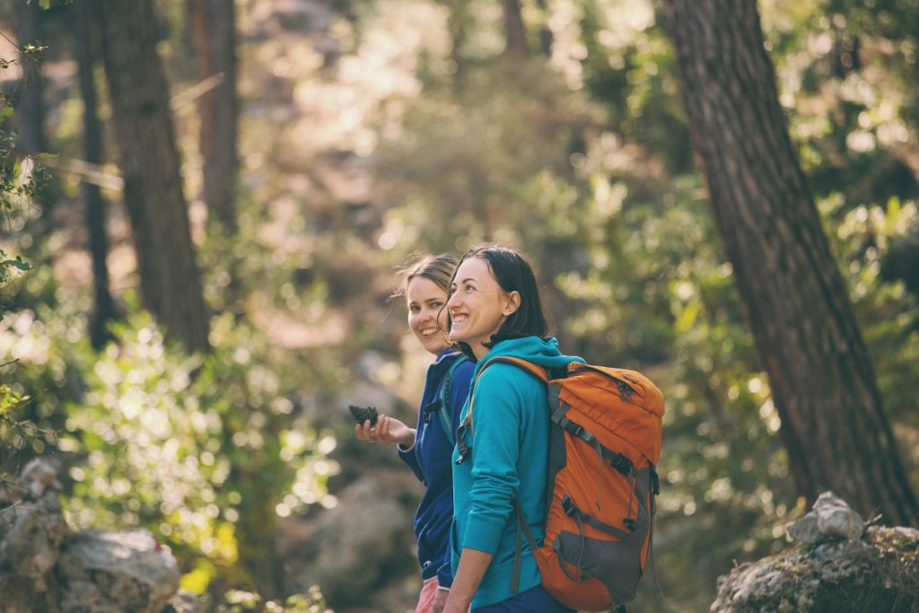 Women hiking on a trail